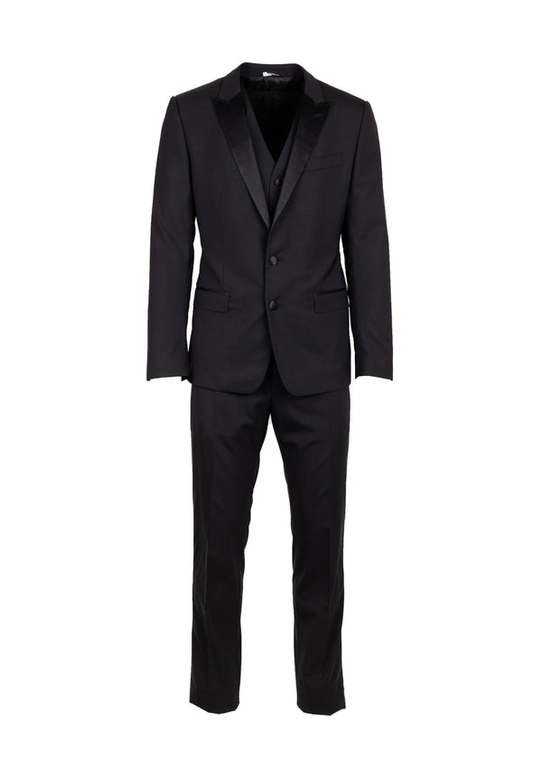 Dolce & Gabbana Mens Black Stretch 3-Piece Martini Tuxedo - ACCESSX