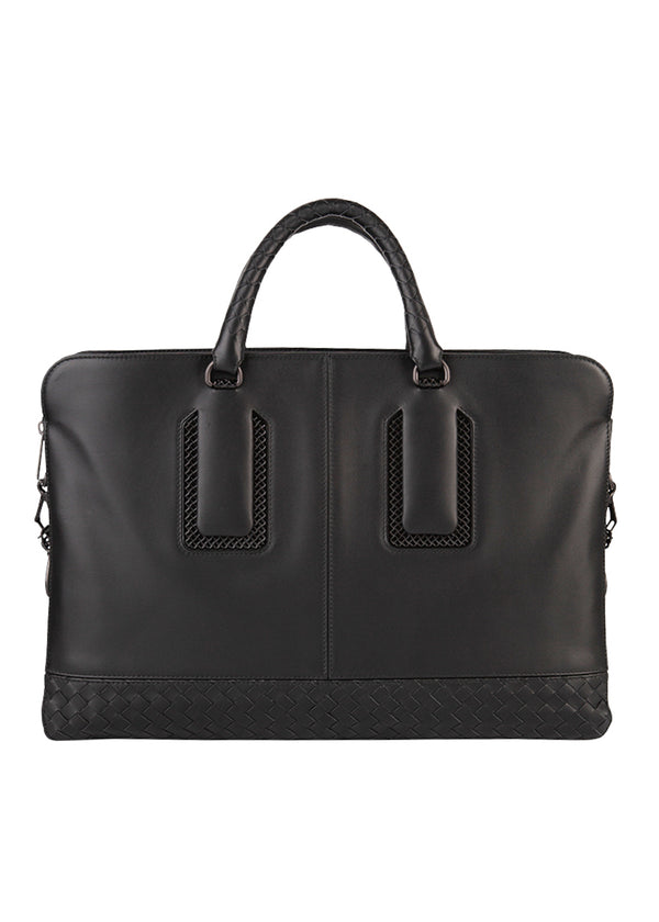 Bottega Veneta Mens Black Nero Calf Nicolo Briefcase - ACCESSX