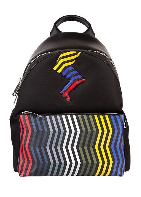 Fendi Multicolored Nylon Chevron Backpack - ACCESSX