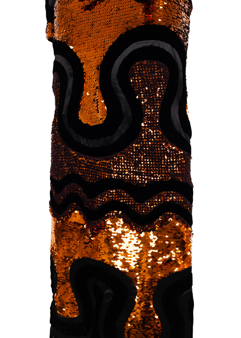 Tom Ford Womens Copper Sequin Long Deco Evening Column Dress - ACCESSX