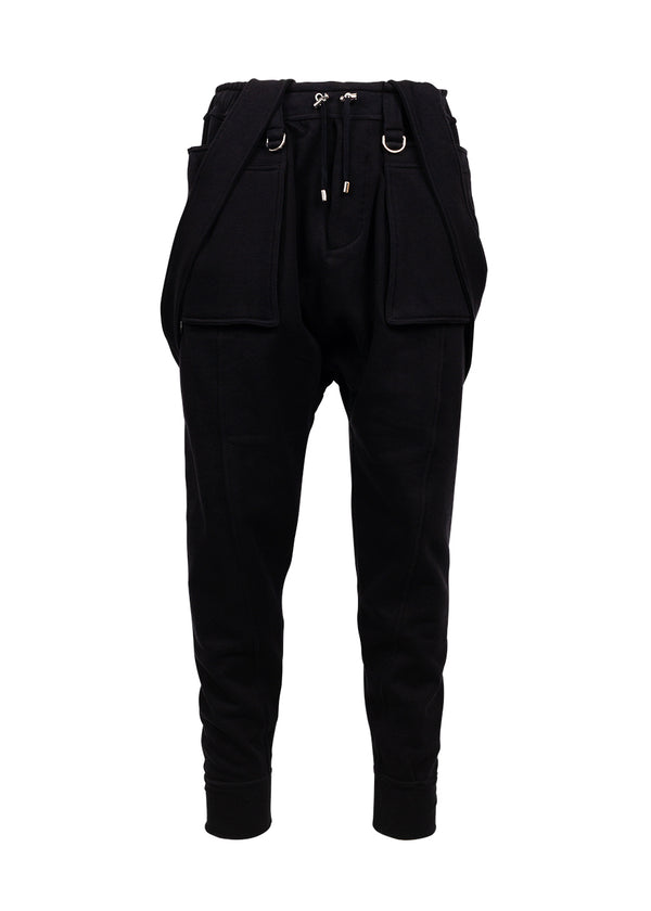 Balmain Mens Black Suspender Jogger Sweatpants - ACCESSX