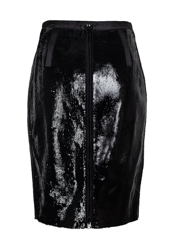 Tom Ford Womens Black Sliced Patent Leather Pencil Skirt - ACCESSX