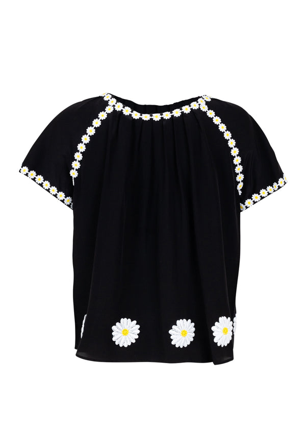 Dolce & Gabbana Womens Black Silk Daisy Top - ACCESSX