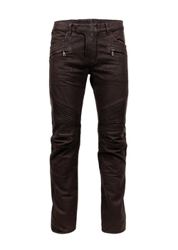 Balmain Mens Brown Moto Waxed Jeans - ACCESSX