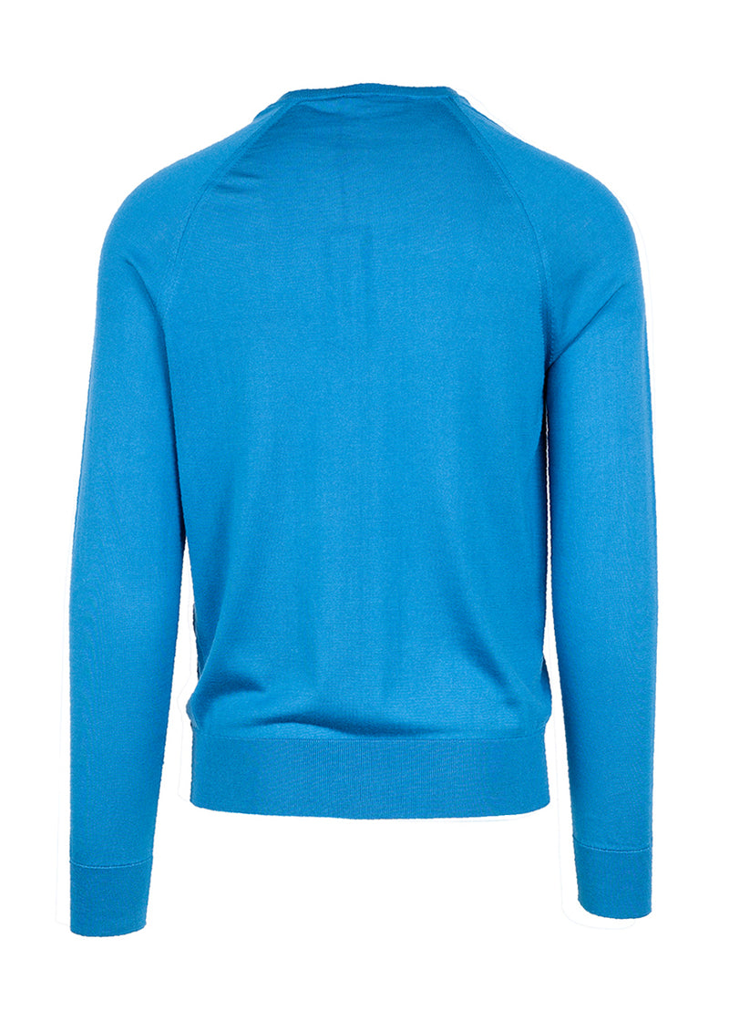 Dolce & Gabbana Mens Blue Silk Square Neck Sweater - ACCESSX
