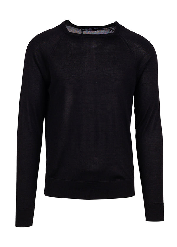Dolce & Gabbana Mens Black Silk Square Neck Sweater - ACCESSX