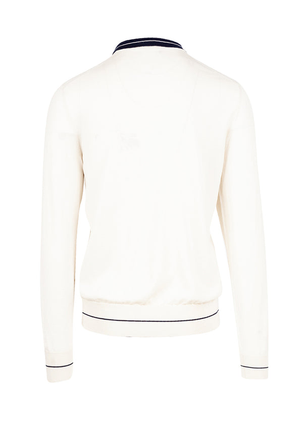 Dolce & Gabbana Mens Ivory Polo Sweater - ACCESSX