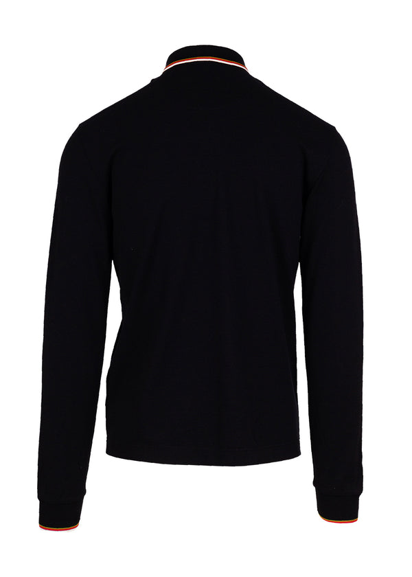 Dolce & Gabbana Mens Black Full Zip Logo Embroidered Polo Shirt - ACCESSX