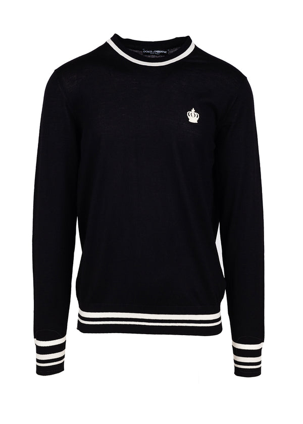 Dolce & Gabbana Mens Black Wool Logo Embroidered Sweater - ACCESSX