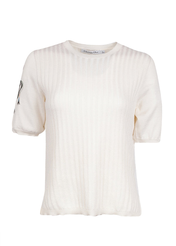 Dior Womens Ivory Ribbed Knit Top - ACCESSX
