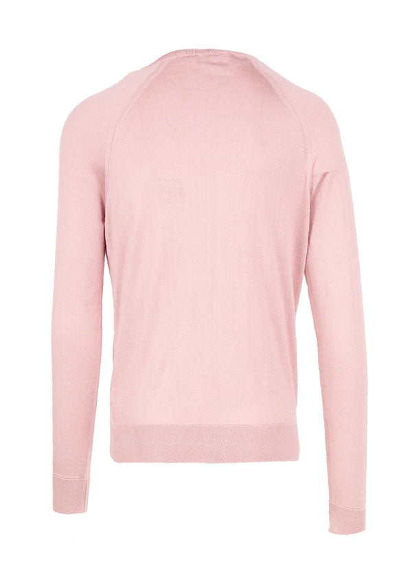 Dolce & Gabbana Mens Pink Silk Square Neck Sweater - ACCESSX