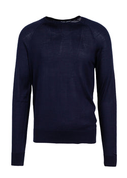 Dolce & Gabbana Mens Navy Silk Square Neck Sweater - ACCESSX