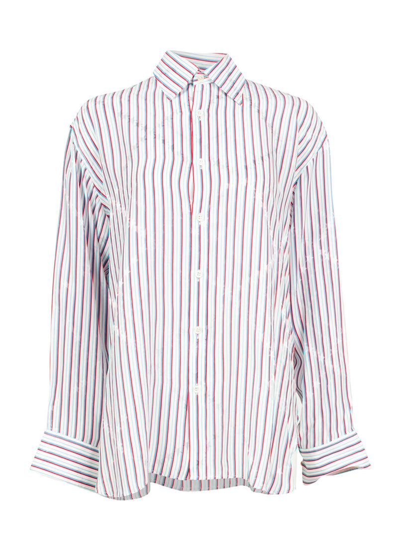 Balenciaga Womens Red & Blue Striped Pinched Collar Shirt - ACCESSX