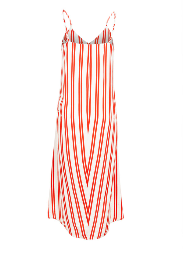 Balenciaga Womens Red Striped Fluid Kick Slip Dress - ACCESSX