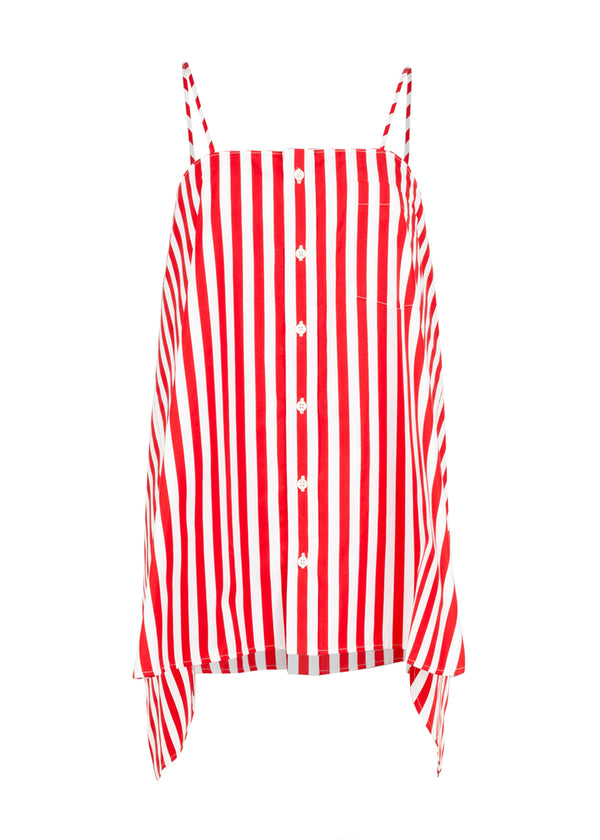 Balenciaga Womens Red Striped Panel Top - ACCESSX