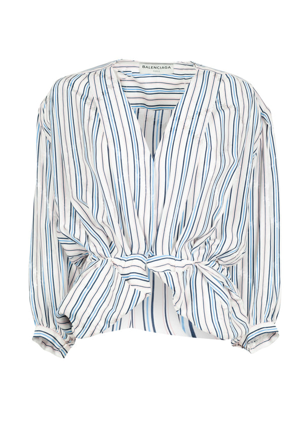 Balenciaga Womens Striped Long Sleeve Blouse - ACCESSX