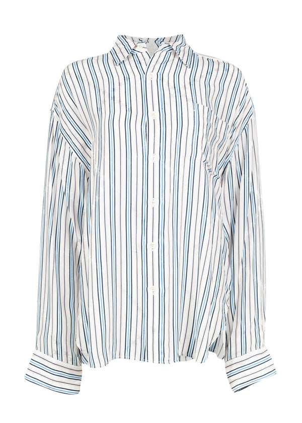 Balenciaga Womens Striped Masculin Shirt - ACCESSX