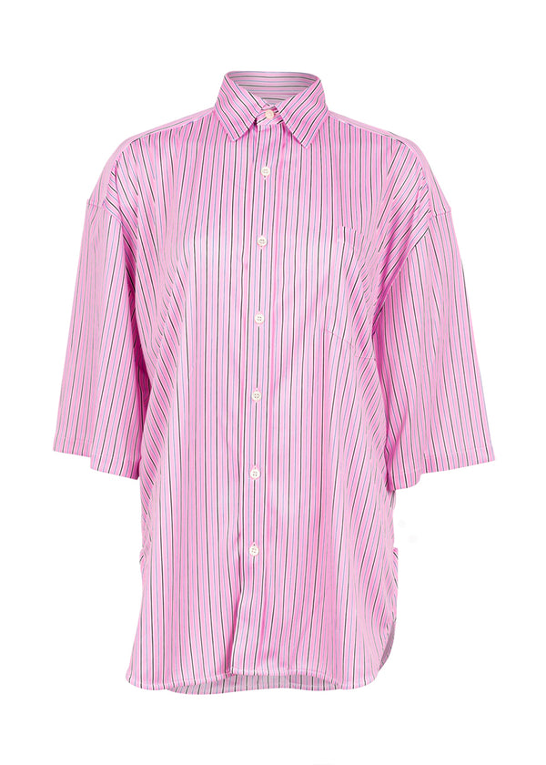 Balenciaga Womens Striped Pink Short Sleeve Shirt - ACCESSX