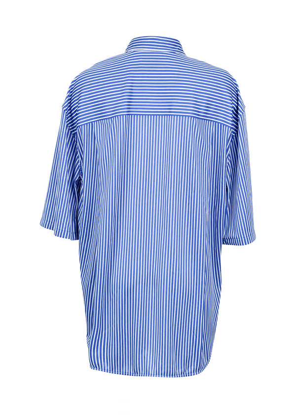 Balenciaga Womens Striped Blue Short Sleeve Shirt - ACCESSX