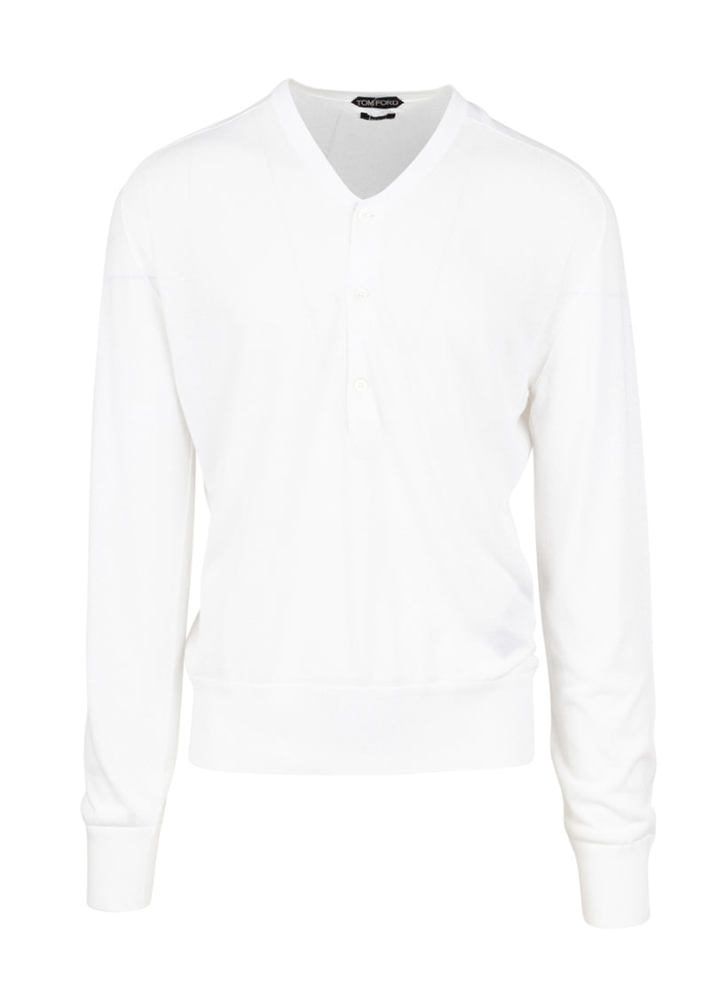 Tom Ford Mens White Cotton Henley - ACCESSX