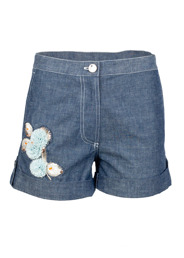 Dior Womens Blue Floral Embroidered Shorts - ACCESSX