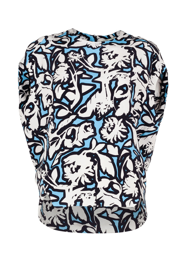 Balenciaga Womens Blue Aubergine Leaf Patterned Top - ACCESSX