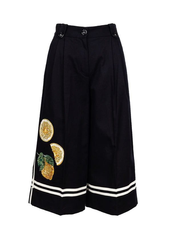 Dolce & Gabbana Womens Black Cropped Wide-Leg Pants - ACCESSX