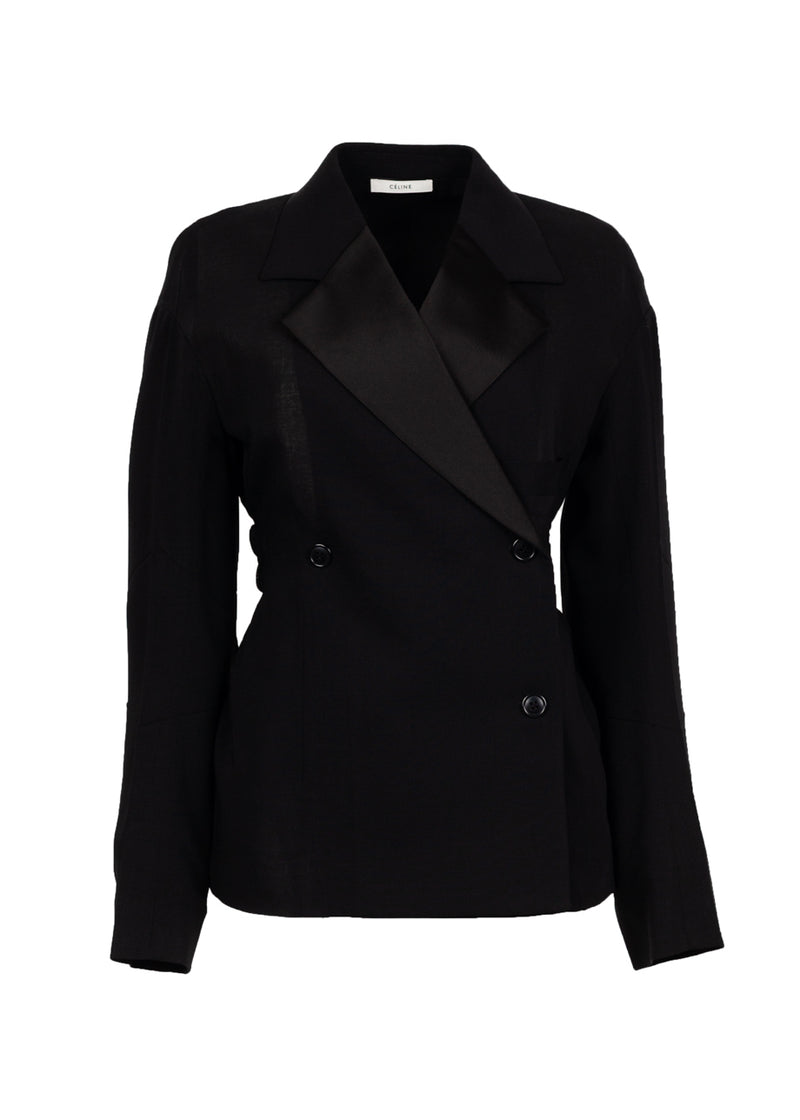 Celine Womens Black Double Breasted Stretch Blazer - ACCESSX
