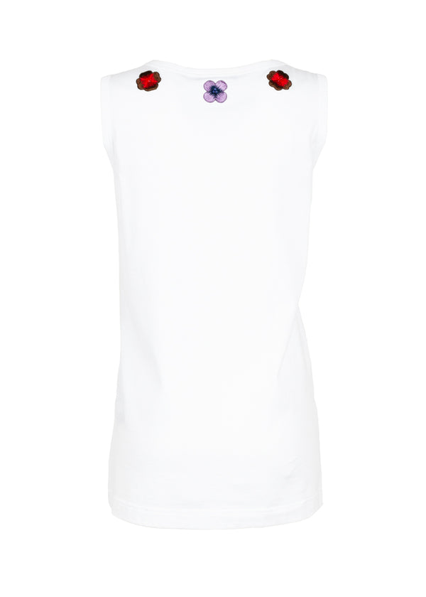 Dolce & Gabbana Womens White Floral Tank Top - ACCESSX