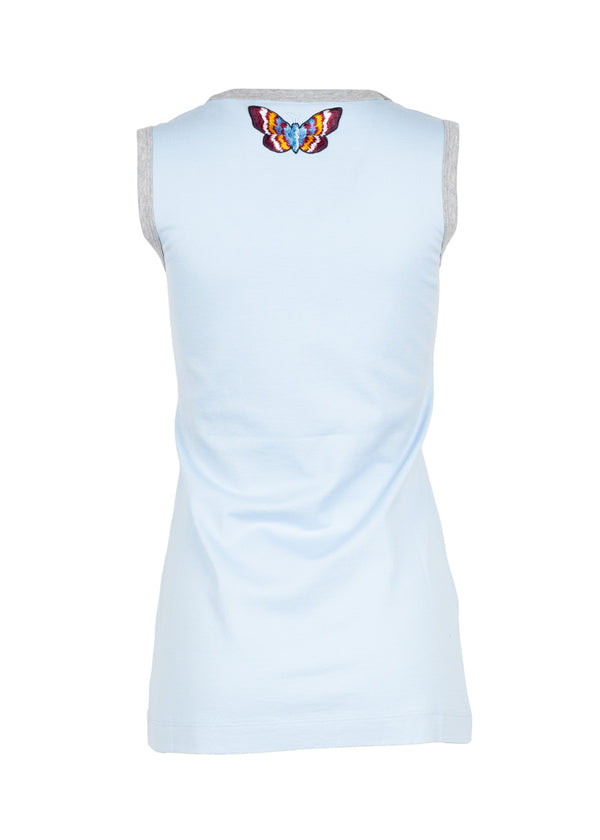 Dolce & Gabbana Womens Light Blue Butterfly Tank Top - ACCESSX