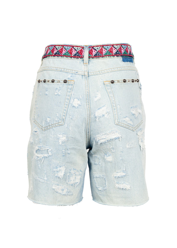 Dolce & Gabbana Womens Embellished Denim Shorts - ACCESSX