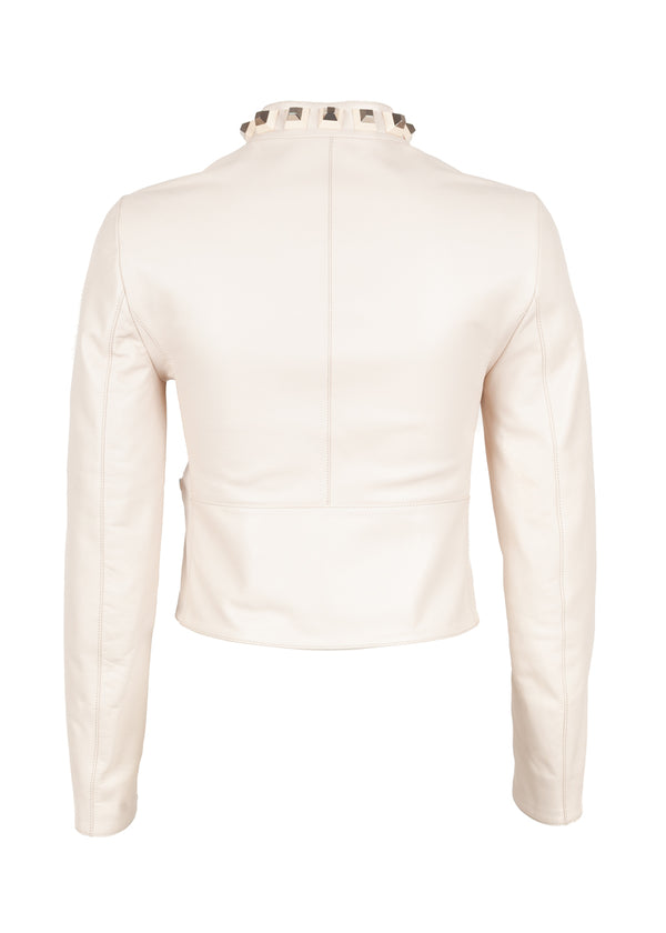 Fendi Womens Ivory Maxi Stud Leather Jacket - ACCESSX