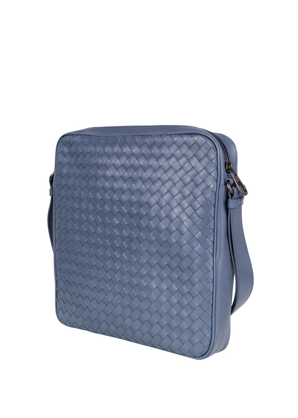 Bottega Veneta Mens Krim Intrecciato Messenger Bag - ACCESSX