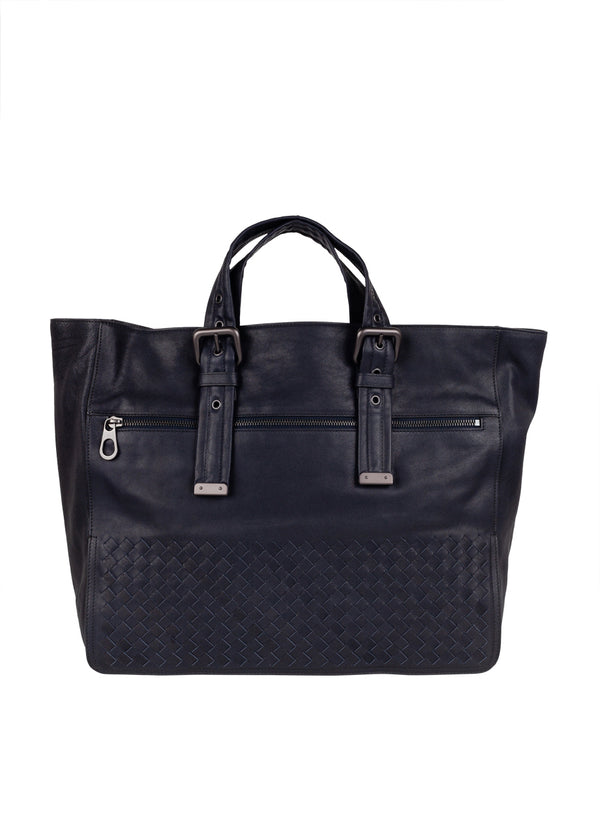 Bottega Veneta Mens New Dark Navy Calf Tote - ACCESSX