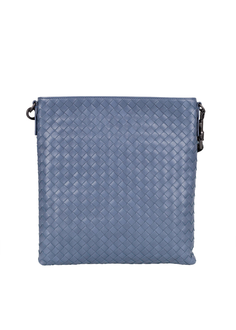 Bottega Veneta Mens Light Blue Intrecciato Large Messenger Bag - ACCESSX