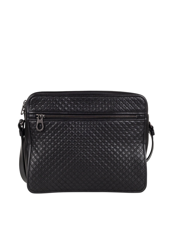 Bottega Veneta Mens Black Calf Messenger Bag - ACCESSX