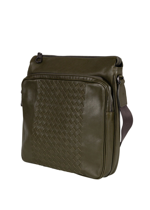 Bottega Veneta Mens Army Green Intrecciato Messenger Bag - ACCESSX