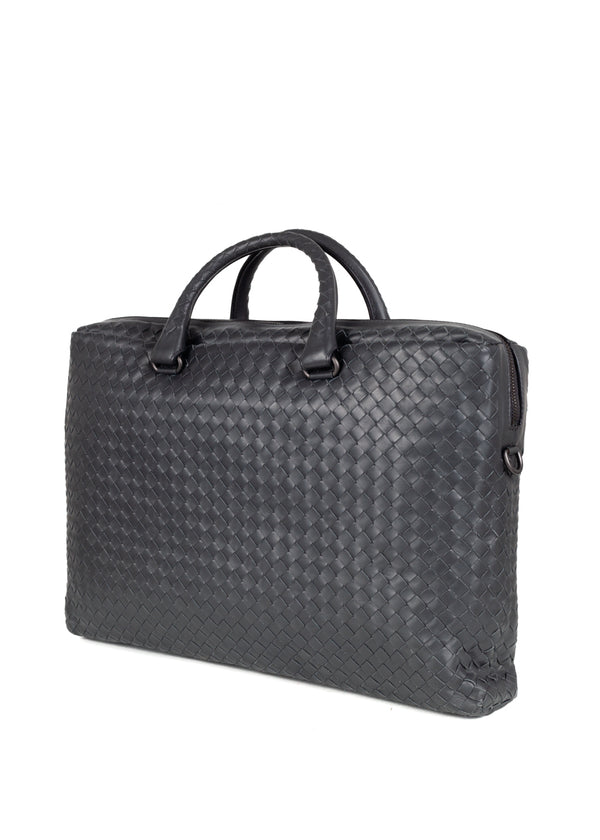 Bottega Veneta Mens Grey Prusse Intrecciato Calf Briefcase - ACCESSX