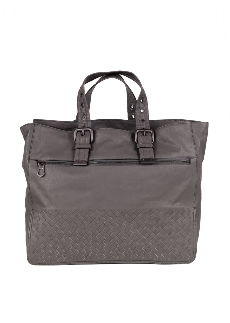 Bottega Veneta Mens Grey Calf Tote - ACCESSX