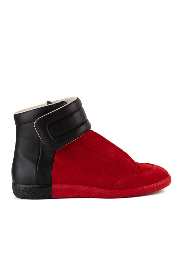 Maison Margiela Mens Red & Black Future Hi Sneakers - ACCESSX