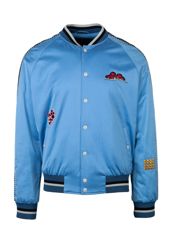 Lanvin Mens Light Blue Embroidered Patch Baseball Bomber - ACCESSX