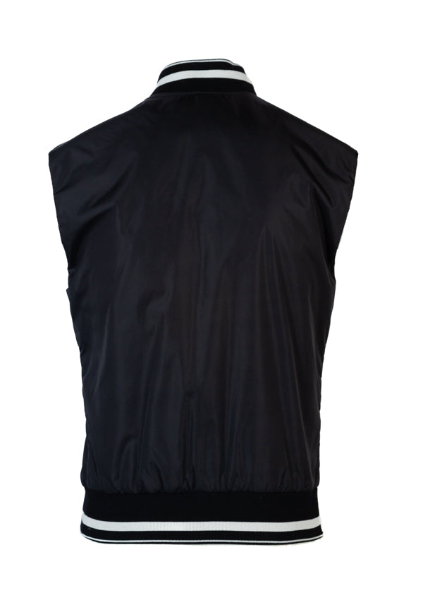 Dolce & Gabbana Mens Black Bee Crown Bomber Vest - ACCESSX
