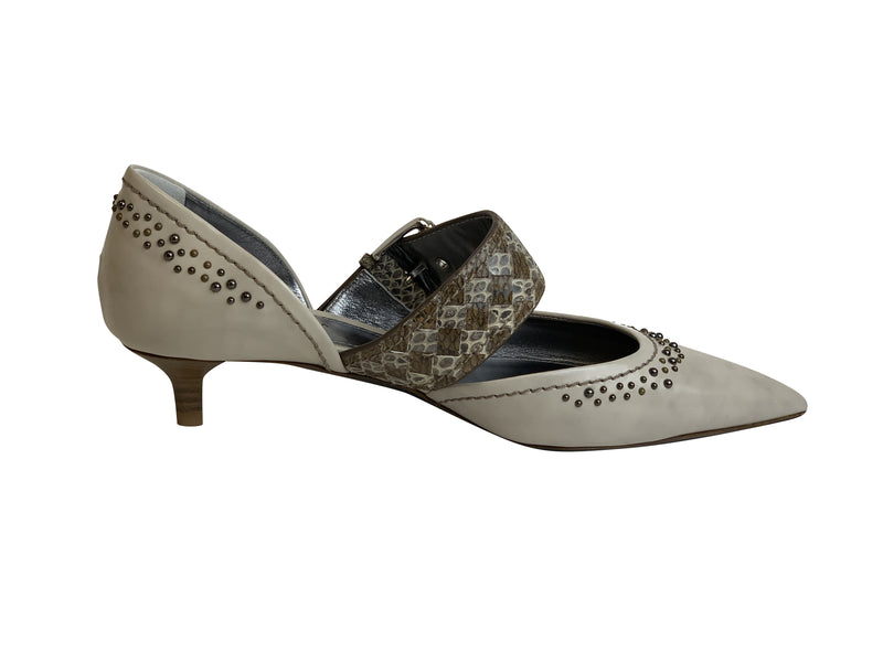 Bottega Veneta Womens Beige Leather Sandal Pumps - ACCESSX