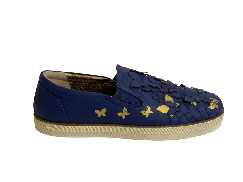 Dolce &Gabbana Womens Blue and Yellow Butterfly Sneakers - ACCESSX