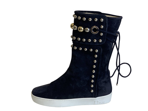 Dior Womens Suede and Shear Navy Beaded Boots - ACCESSX