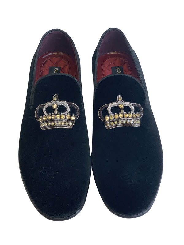 Dolce and Gabbana Mens Black Suede Crown Shoes