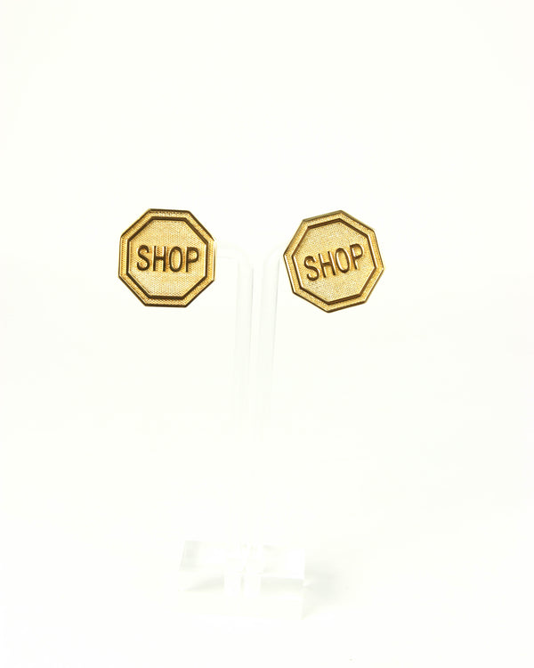 Moschino Shop Sign Clip On Earrings - ACCESSX