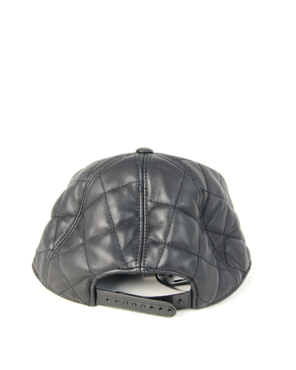 Moschino Embellished Quilted Leather Hat - ACCESSX