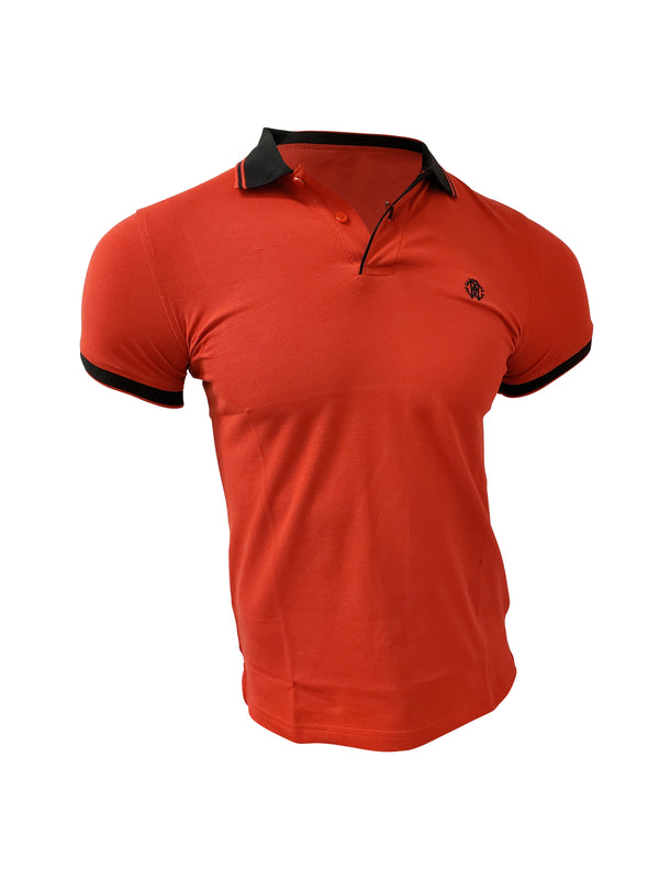 Roberto Cavalli Contrast Trim Polo Red Shirt - ACCESSX