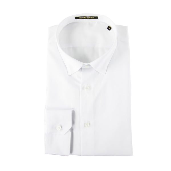 Roberto Cavalli Slim-Fit Dress Shirt in White - ACCESSX